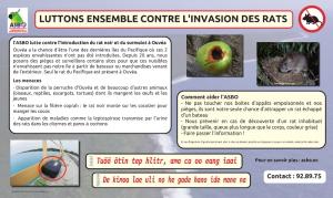 Panneau de présentation de la mission de lutte contre les rats à Ouvéa